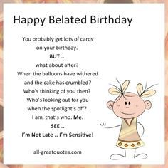 Pin by mary ann spinoso on belated birthday cards pinterest belated birthday bookmarktalkfo Image collections
