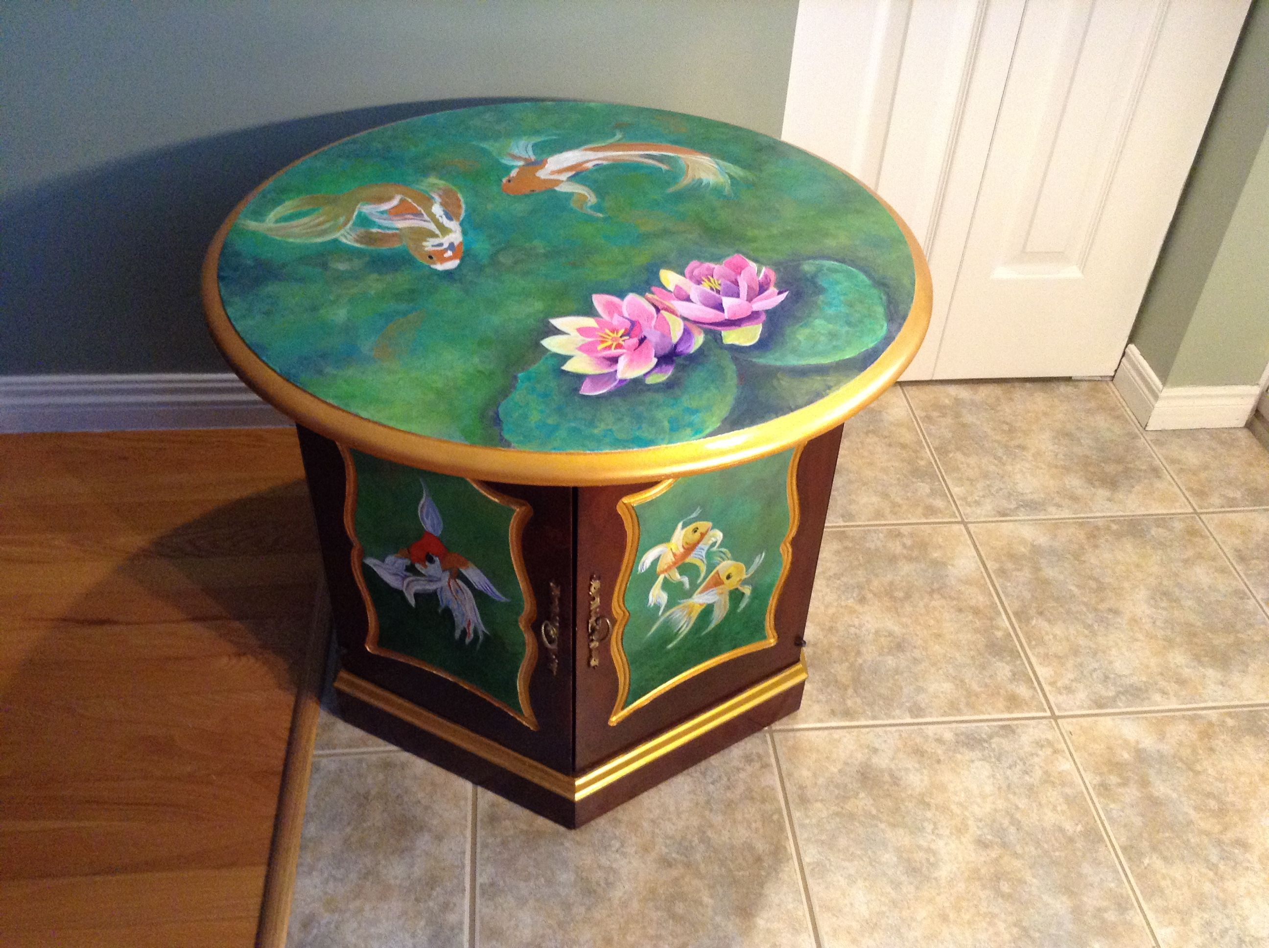 Acrylic Painting On Wooden Hexagon Drum Table By Adrienne Elfner