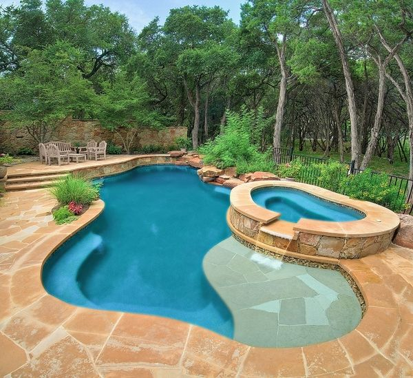 7 modern outdoor swimming pool design spa area waterfall - Swimming Pool Designs