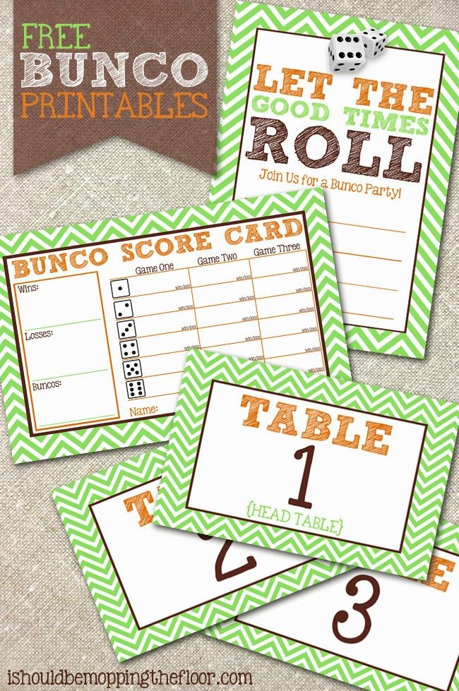 Free Bunco Printables Includes invitation, scorecards and table - table tent template