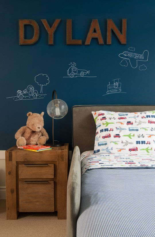 Navy chalkboard paint for an accent wall in boy's bedroom