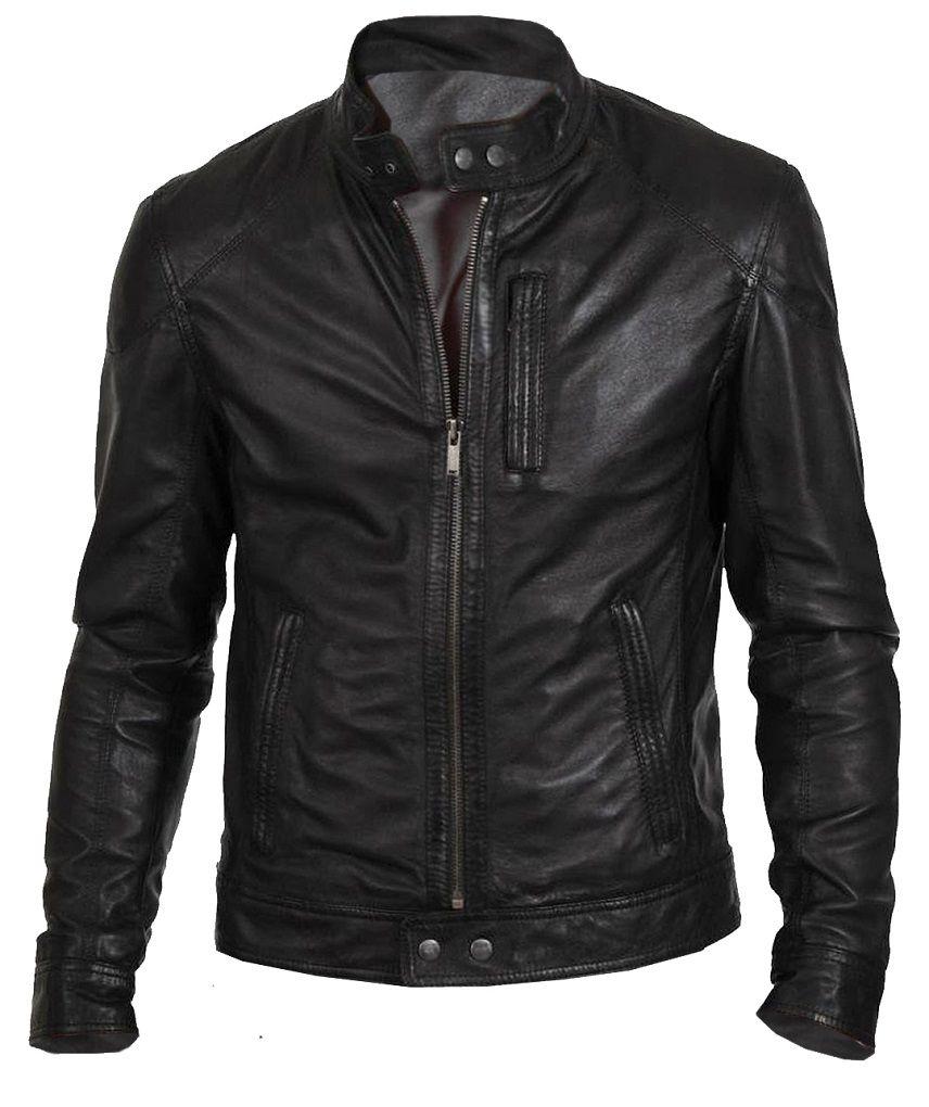 Leather N Leather Genuine Lambskin Leather Moto Biker Jacket 2 Zips Pockets