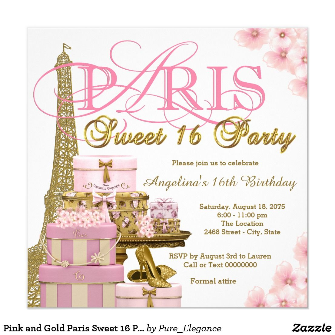 Pink and Gold Paris Sweet 16 Party Card Paris Sweet 16 birthday ...