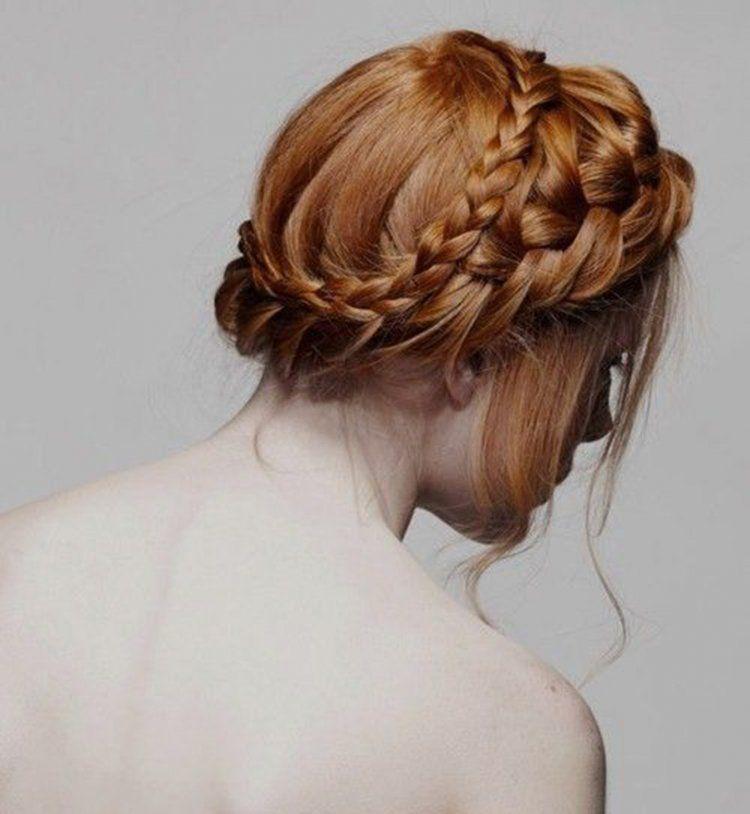 Idée coiffure de mariage une couronne de tresses