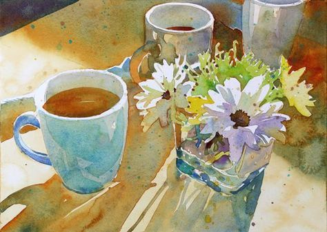 """ARThouse Studio School: Watercolor Still Life--how I painted """"Mugs and Mums"""", Susan Murphy. I love the light!"""