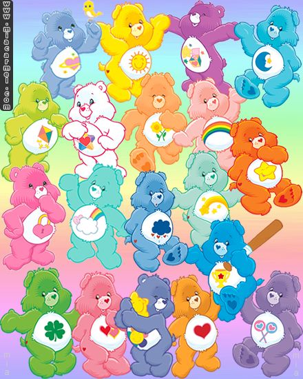 """6 Sunshine//Tenderheart//Cheer//Share// Care Bears 2.5"""" x 2.5/"""" Party Favor Stickers"""