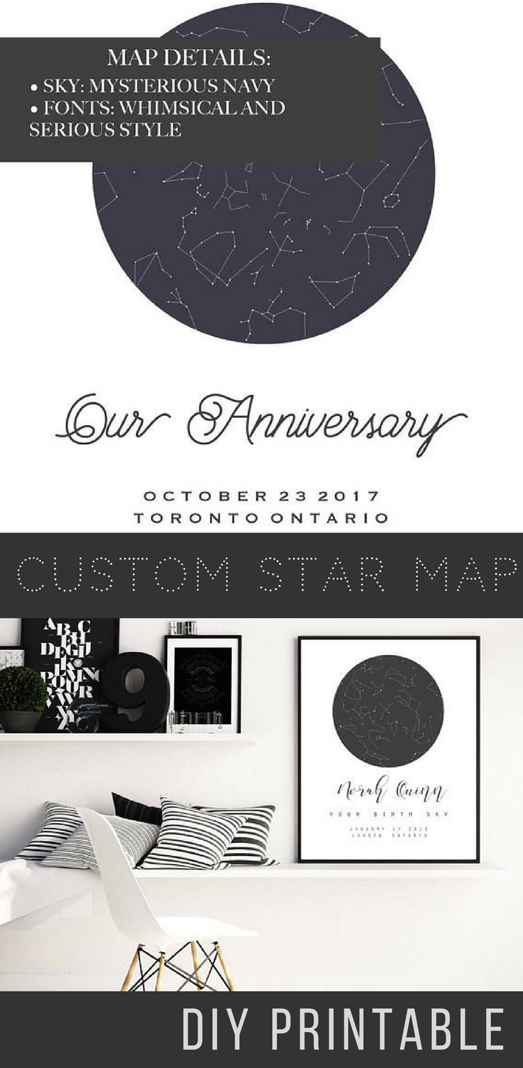 Custom Star Map Personalized Star Map PRINTABLE Art Custom Night - Printable star map
