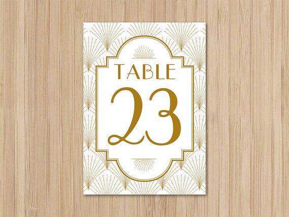 Instant Download Art Deco Wedding 5x7 Table Numbers