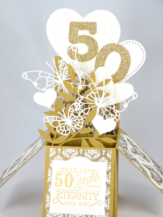 3D Golden Wedding Anniversary Card, Box Card with Hearts