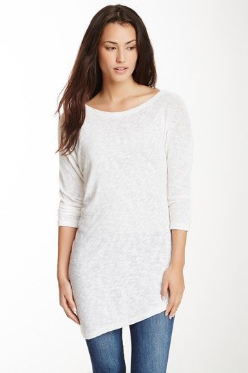 White Asymmetrical Twist Tunic Top Shirt by Monoreno on @HauteLook