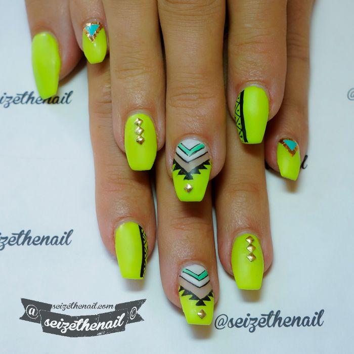Aztec neon nails and Aztec glitter nails | SEIZETHENAIL | Neon Nail ...