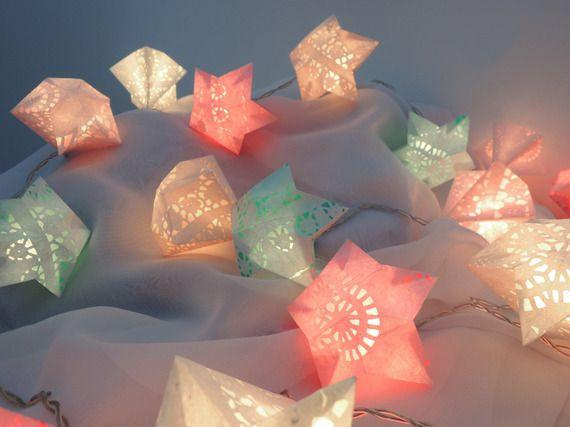 Guirlande Lumineuse 20 Leds, Origami Étoile Dentelle Corail Menthe