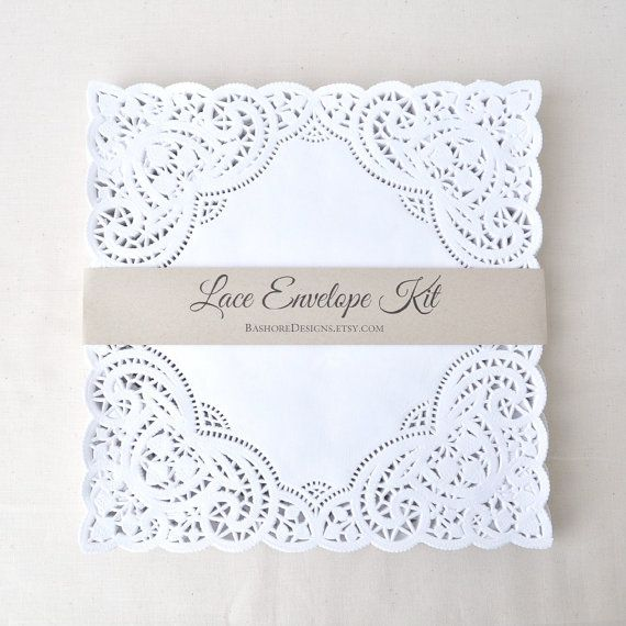 THIS LISTING IS FOR THE LACE ENVELOPE DIY KIT ONLY. ENVELOPES DO NOT COME FOLDED - YOU FOLD TO THE CUSTOM SIZE YOU NEED. DETAILS:  A very elegant and