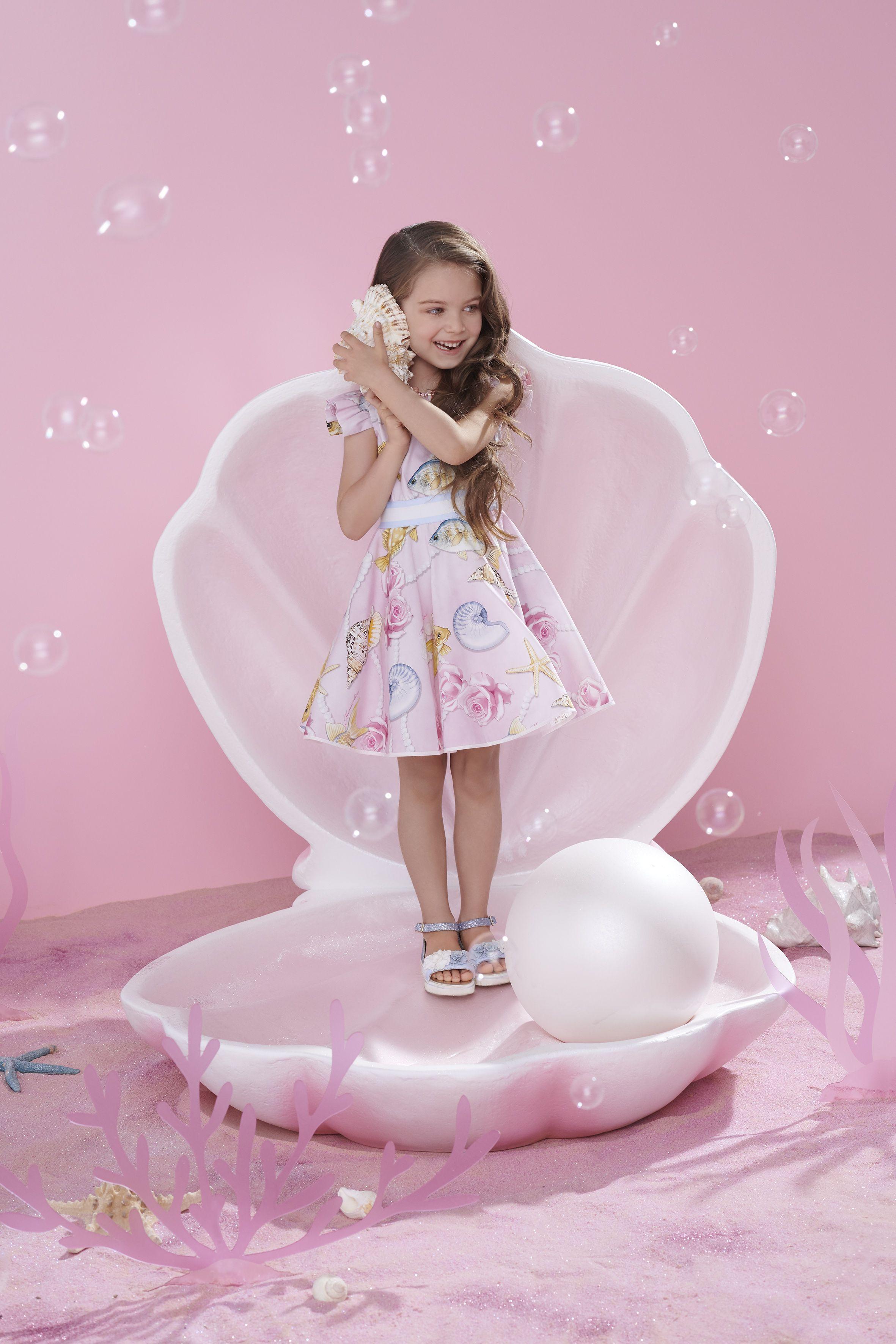 8b5fd0d7c341 Monnalisa Pink Sea Theme Dress Summer Kids