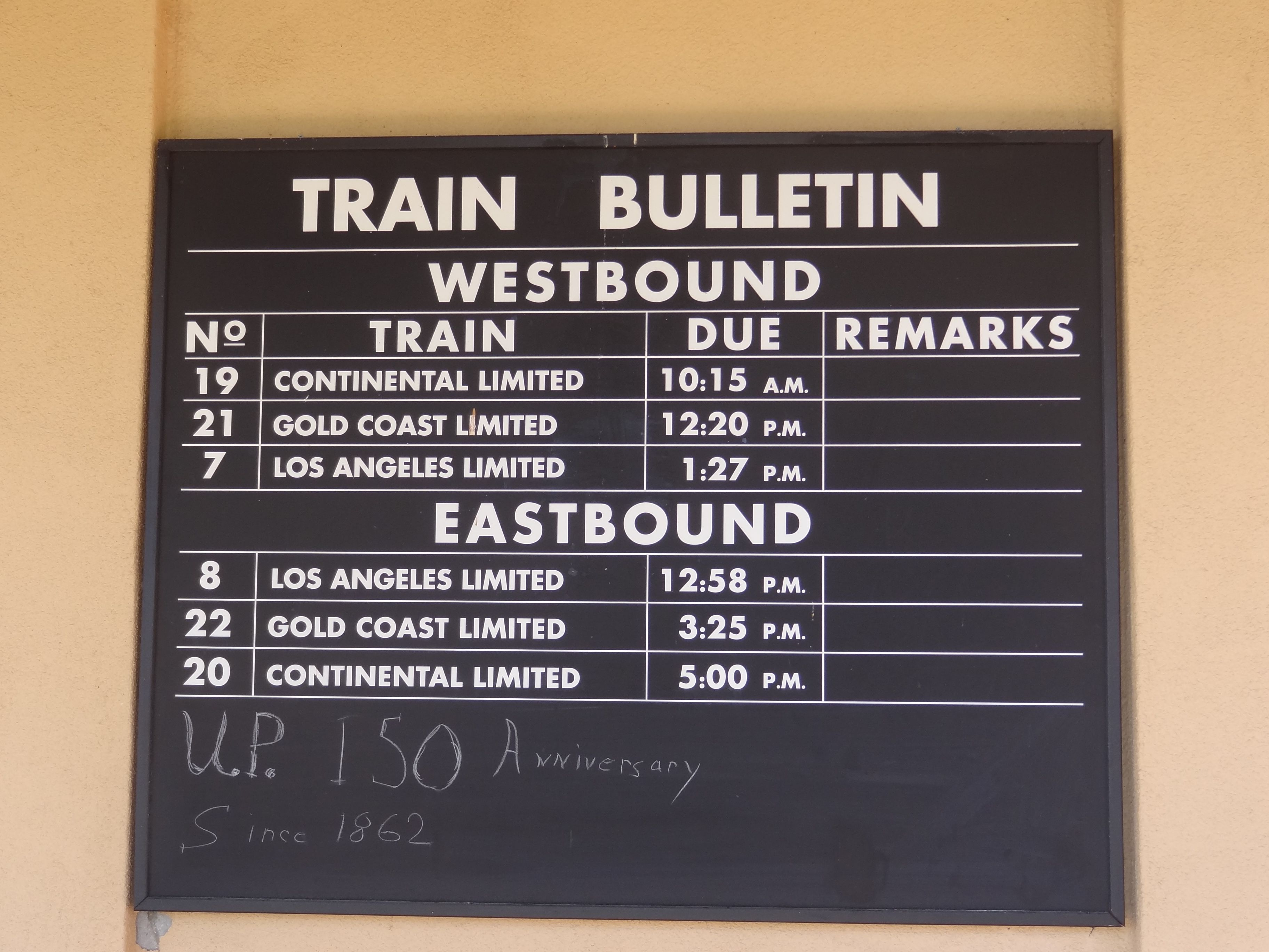 Train Schedule on the Kelso Union Pacific restored train