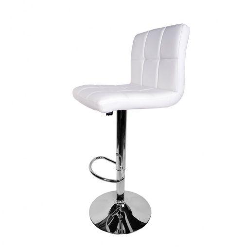 MDM Cupua Bar Stool With White Faux Leather Seat Chrome Base