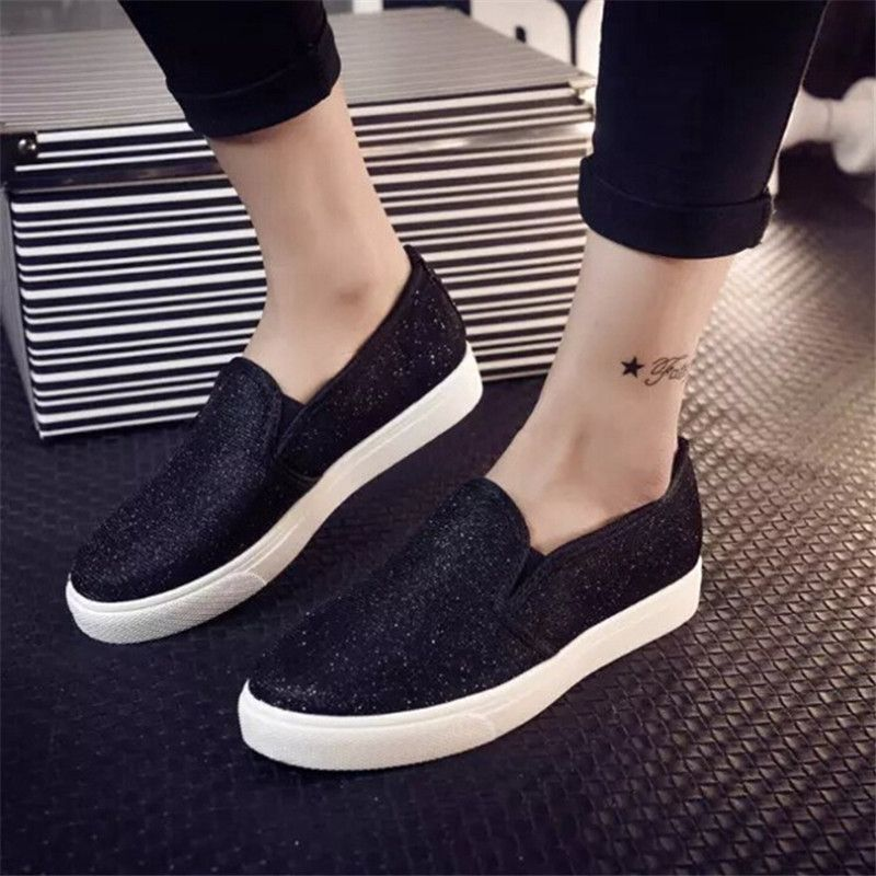 2015 mode f minine casual chaussures plates femmes printemps automne paillettes toile chaussures. Black Bedroom Furniture Sets. Home Design Ideas