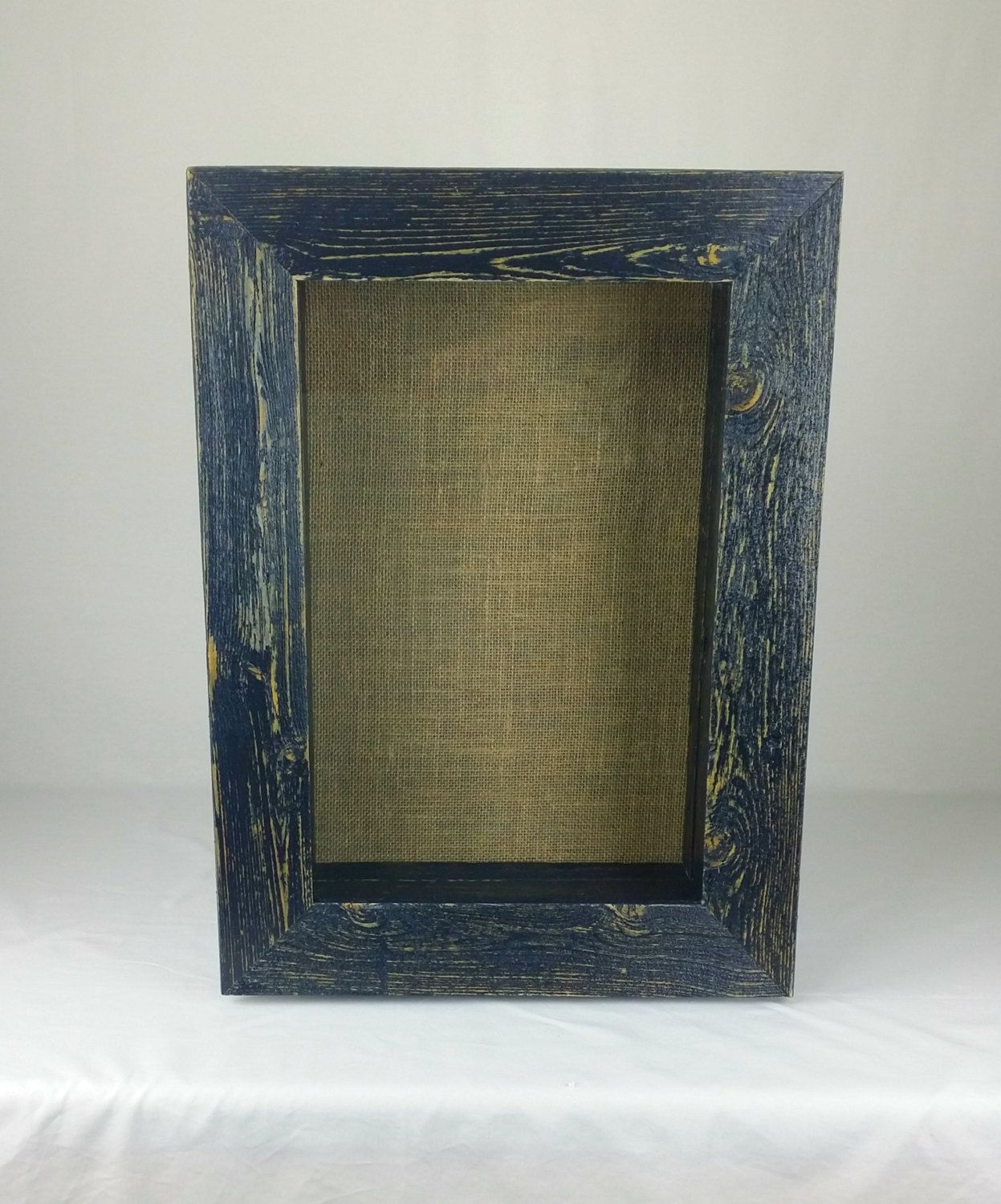 midnight blue rustic shadow box frame burlap covered backing by sweetiesattic on