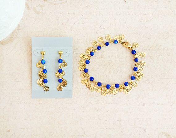 Blue Stone 7.5 Bracelet Post Earrings Gold by lindasnest on Etsy, $27.00