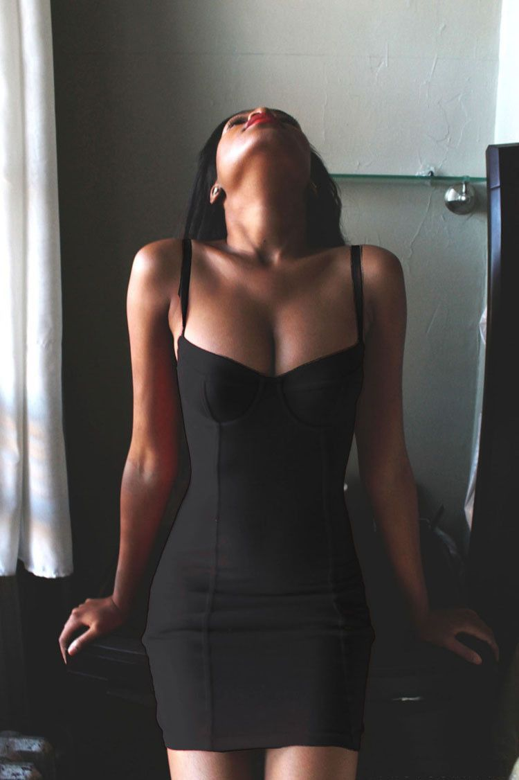 Spaghetti Strap Bodycon Sheath V Neck Backless Sexy Dress