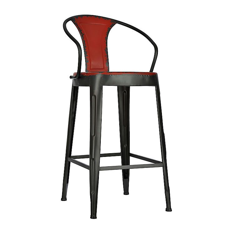 Product Details Distressed Red Industrial Metal Bar Stool Sean S