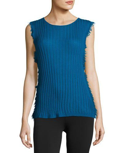 HELMUT LANG Sleeveless Ribbed Cashmere Pullover Sweater, Blue. #helmutlang #cloth #