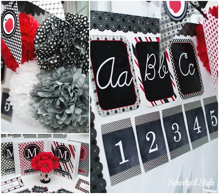 Red Classroom Decor ~ Red black gray apple polka dots argyle classroom theme and