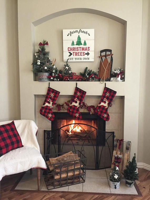 Rustic Christmas Mantel Decor Fireplace Plaid