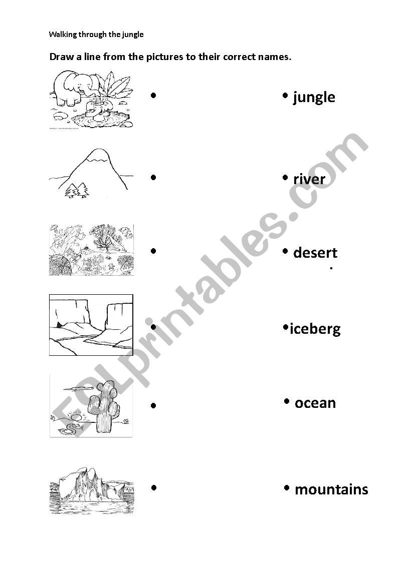 Draw A Line From The Pictures To Their Correct Names Worksheets Vocabulary Worksheets Printable Preschool Worksheets