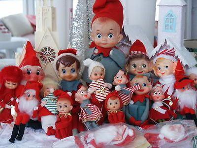 White Pixie Elf Christmas Ornament Vintage Japan Retro Knee Hugger Holiday Home Decor