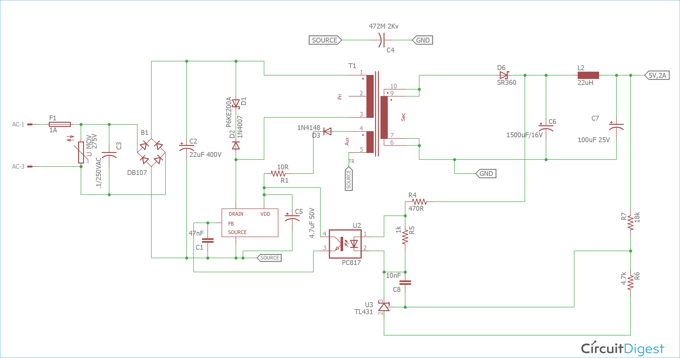12v 1a Power Supply Circuit Design Using Viper22a Power Supply Circuit Circuit Design Electronics Circuit