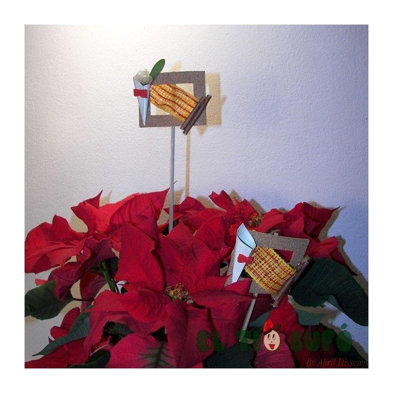 Adornos para Ponsetia de Navidad. Marco con pincho para decorar la ...