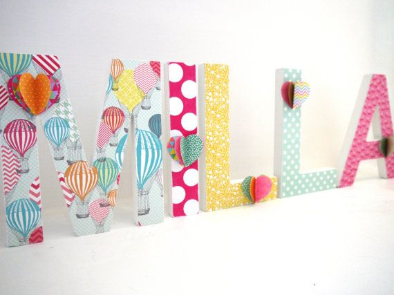 SET OF 5 Custom / Personalised Wooden Letters -Decorated