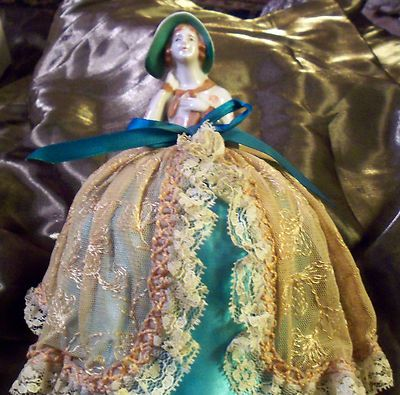 Antique Porcelain Pin Doll/Half Doll with pincushion skirt | eBay
