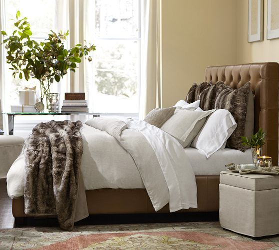 terrific leather bedroom furniture design | Lorraine Tufted Leather Low Bed in 2019 | Master bedroom ...
