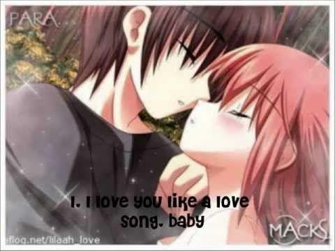 Nightcore Love You Like A Love Song Lyrics Anime Kiss Anime Anime Couple Kiss