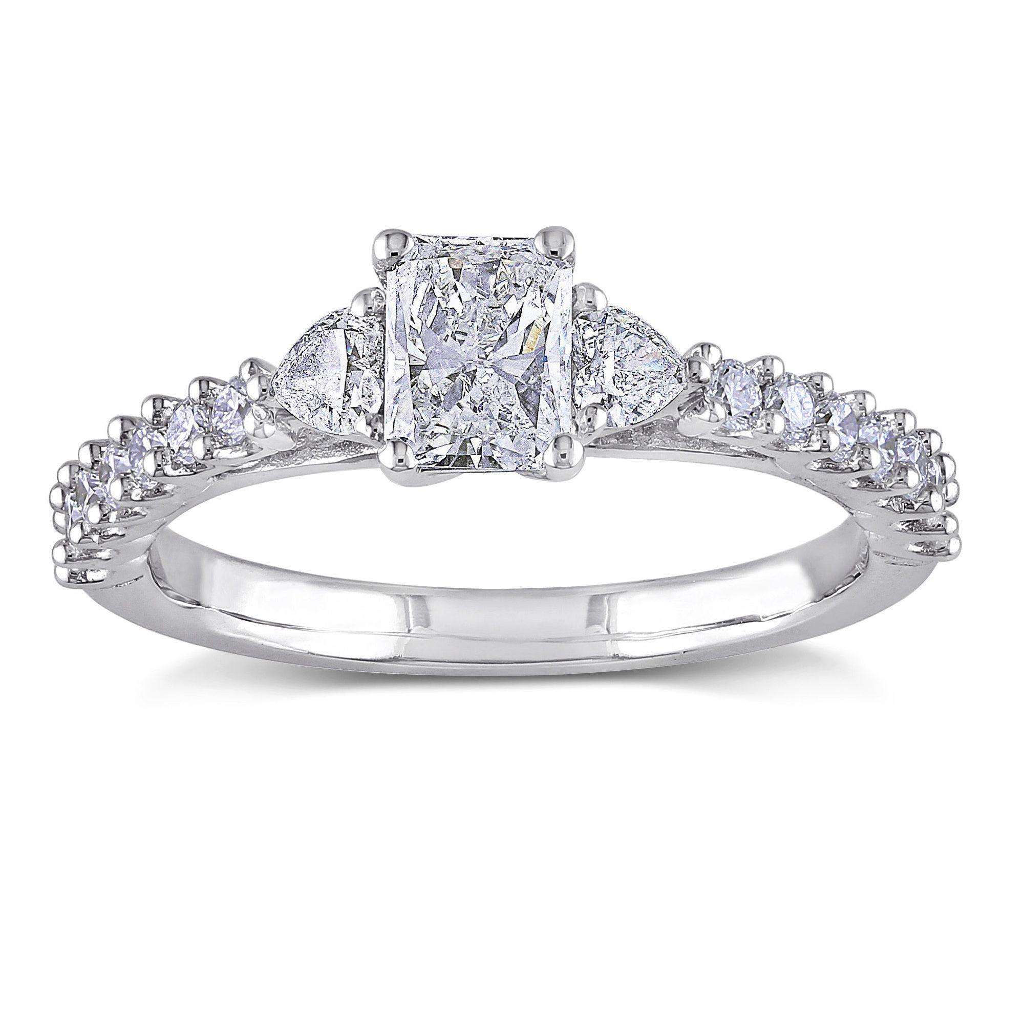 Miadora signature collection 14k white gold 1ct tdw diamond double row - Miadora Signature Collection 14k White Gold 1ct Tdw Radiant Cut Diamond Ring By Miadora