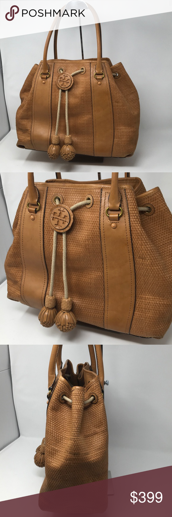 bbbfe7fcbcd Tory Burch Amalfi Woven Drawstring Tote GEORGEOUS Bag. Some spots  throughout (zoom in on