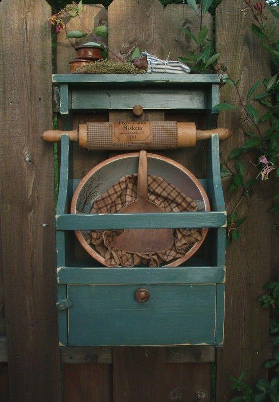 primitive rolling pin dough bowl cubby rack