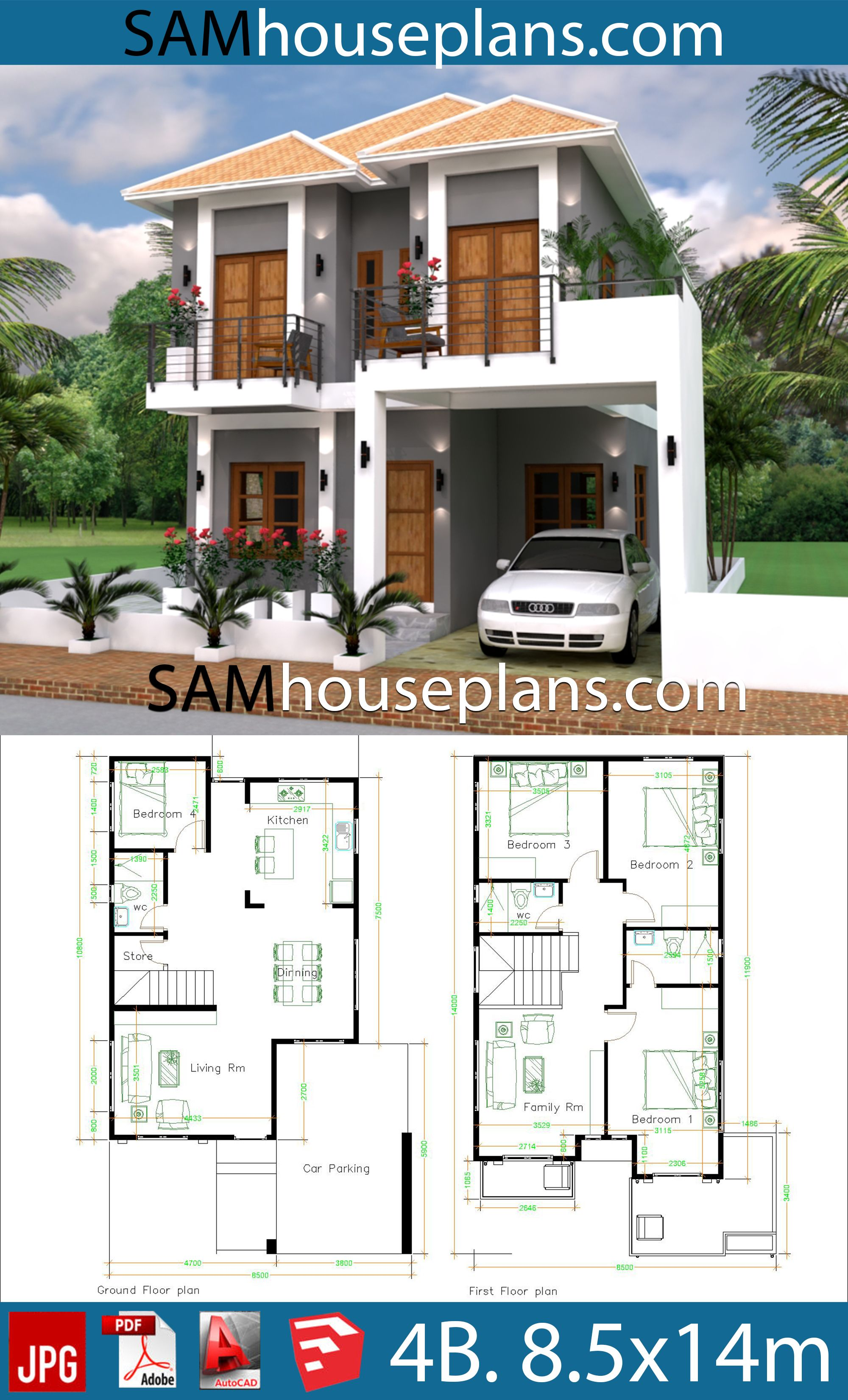 House Plans 8 5x14 With 4 Bedrooms Sam House Plans Two Storey House Plans House Layout Plans Bungalow Floor Plans