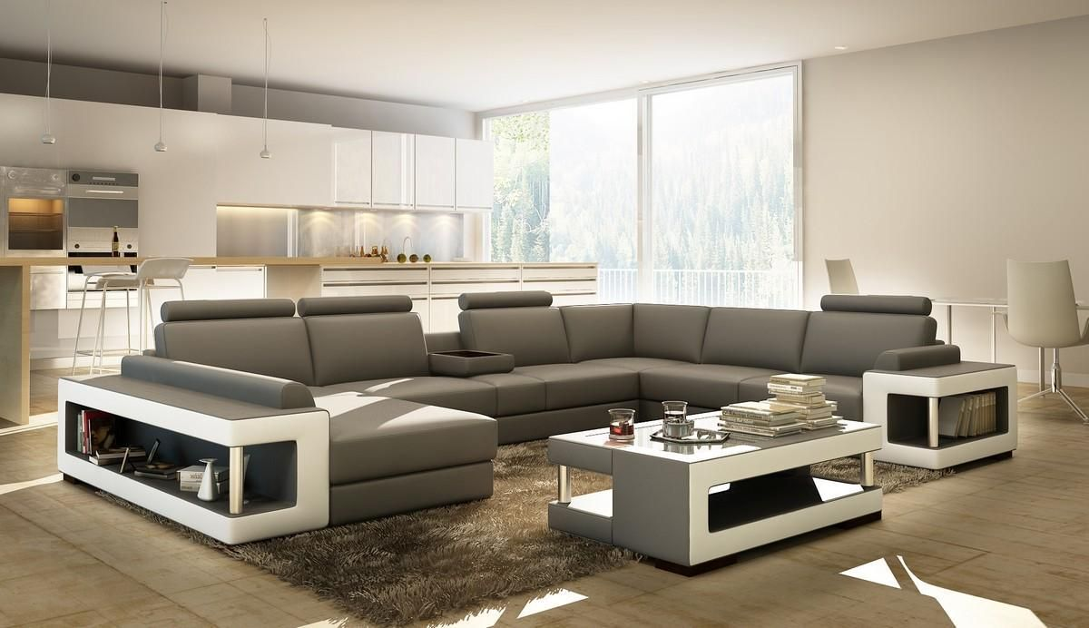 Sofa Covers Divani Casa Grey and White Leather Sectional Sofa w Coffee Table
