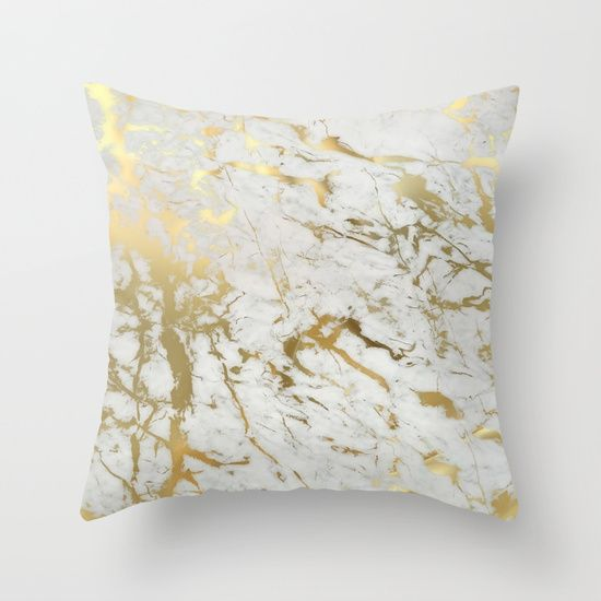 Buy Gold Marble Throw Pillow By Marta Olga Klara