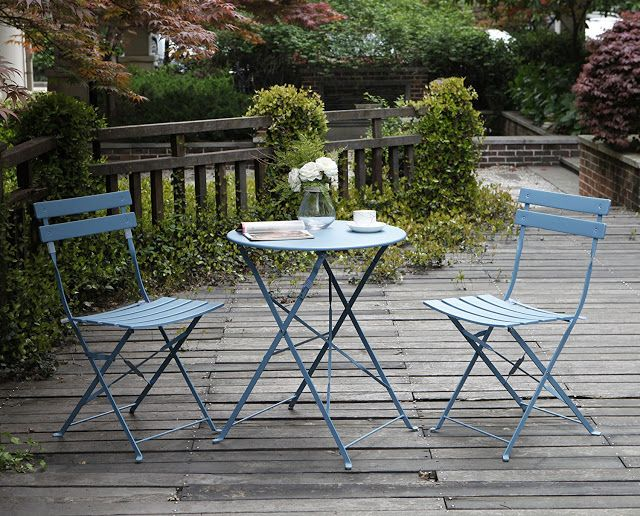 067b3708b2d4 The Grand Patio Premium Steel Patio Bistro Set in blue which is lightweight  features a powder coated finish steel frame structure that is  rust-resistant.