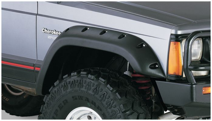 Bushwacker 10911 07 Black Jeep Cutout Style Textured Finish 4 Piece Fender Flare Set For 1984 2001 Jeep Cherokee 4 Door Fender Flares Jeep Cherokee Black Jeep