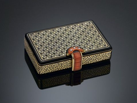 This rare gold compact by the iconic Cartier captures the elegance of Art Deco ~ M.S. Rau Antiques