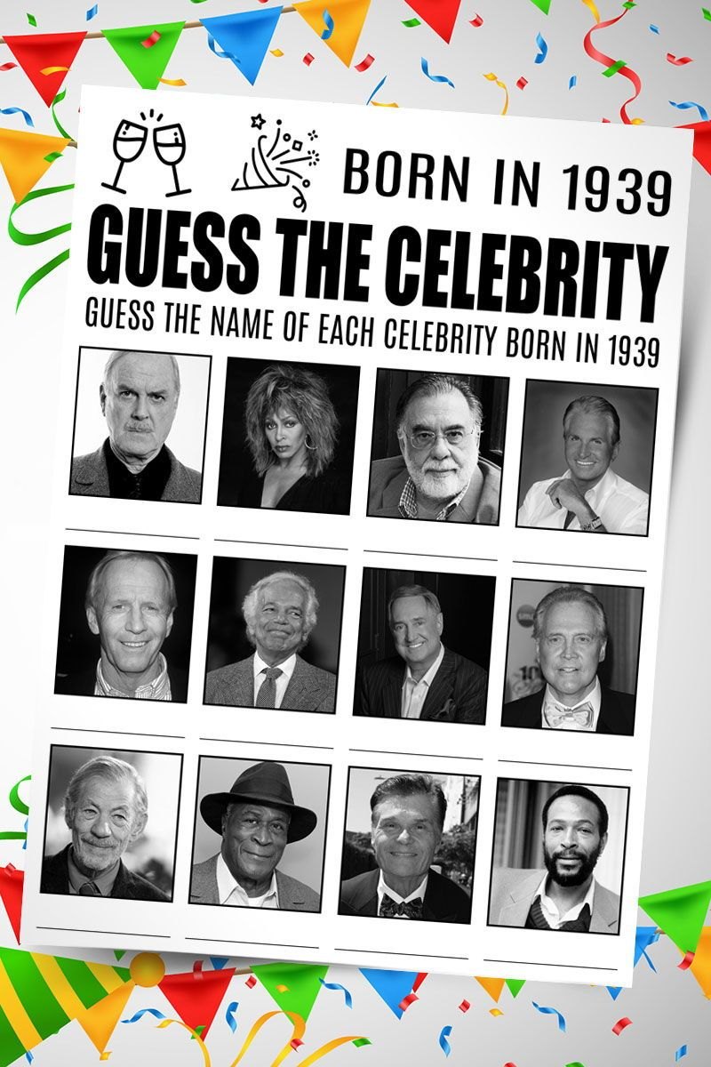 Guess Celebrity Game 80th Birthday Games Born In 1939 Adult Birthday Party Ideaas 80th Bir With Images Birthday Games Birthday Games For Kids Birthday Games For Adults