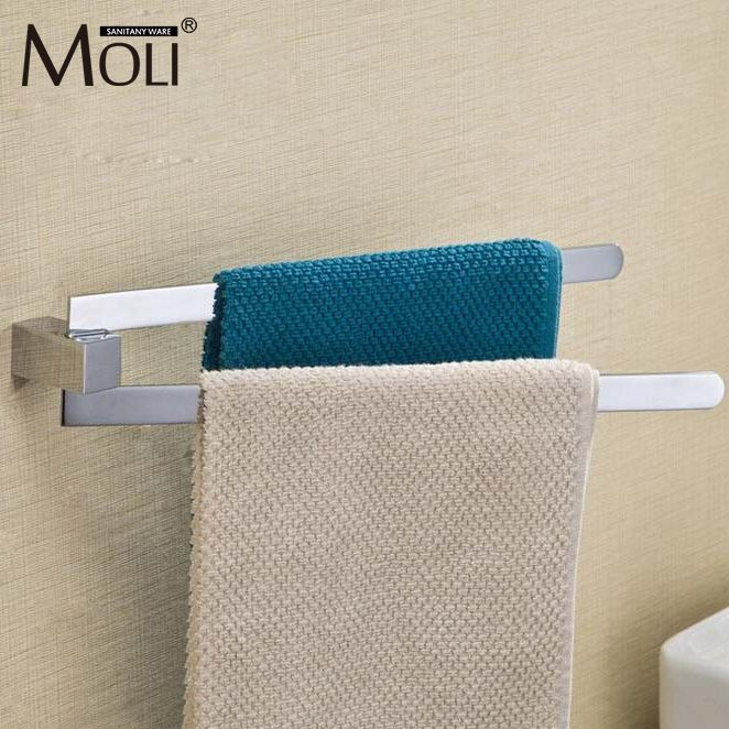 Brass Chrome Towel Rack 2 Swivel Bars Wall Mounted Towel Rail