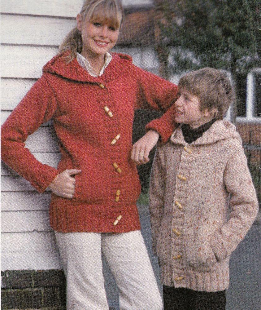 Vintage Knitting Pattern Ladies, Men, Childs Hooded Chunky Cardigan ...