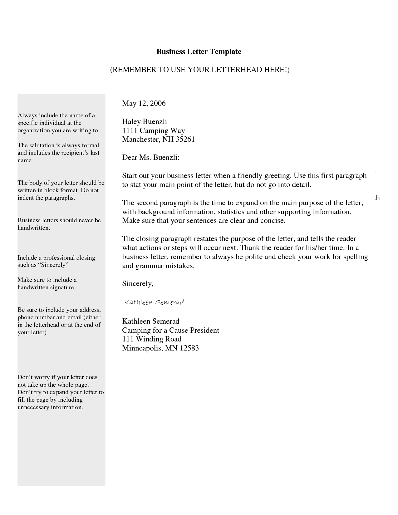 BUSINESS LETTER TEMPLATE | General Category Pix - business letter ...