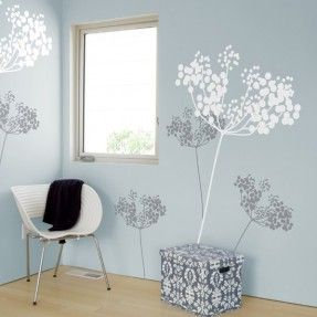 for girl, pale taupe grey wall, white and yellow anise flowers